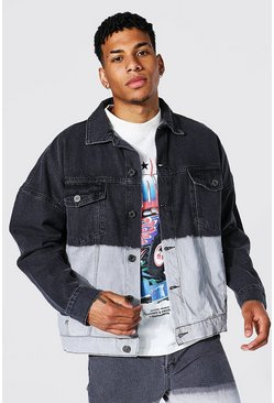 Oversized Ombre Denim Jacket, Black negro