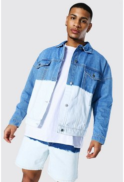 Mid blue blue Oversized Ombre Denim Jacket