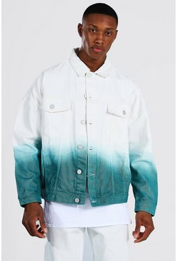Oversized Ombre Denim Jacket, Ecru bianco