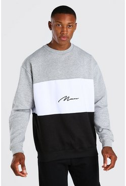 Black svart Colour Block Oversized Sweat