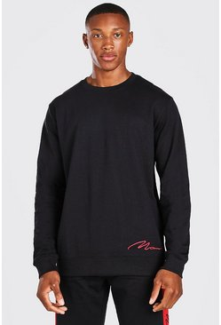 Black MAN Signature Lounge Crew Neck Sweatshirt