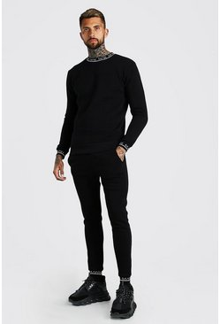Black MAN Printed Rib Sweater Tracksuit