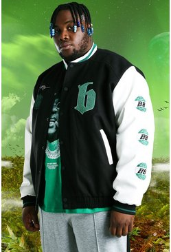 Black svart Plus Size Burna Boy Varsity Bomber Jacket