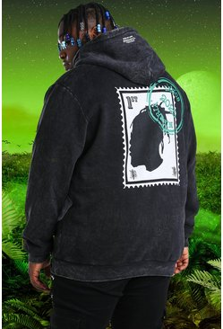 Charcoal grey Plus Size Burna Boy Stamp Print Hoodie