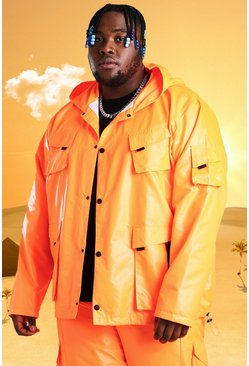 Orange Plus Size Burna Boy 4 Pocket Field Jacket