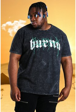 Charcoal grey Plus Size Burna Boy Tour Acid Wash T-Shirt