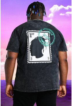 Charcoal grey Plus Size Burna Boy Stamp Acid Wash T-Shirt