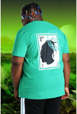 Green Plus Size Burna Boy Stamp Print T-Shirt