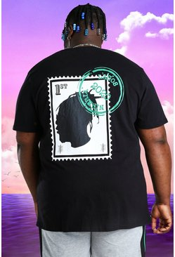 Camiseta con estampado de sello Burna Boy Plus, Negro