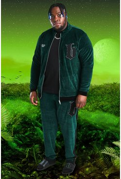 Plus Size Burna Boy Velour B Tracksuit, Green vert