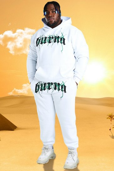 White Plus Size Burna Boy Tour Print Tracksuit