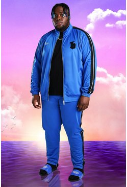 Plus Size Burna Boy Tricot Slim Fit Tracksuit, Cobalt bleu