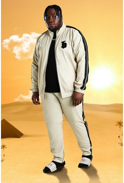Plus Size Burna Boy Tricot Slim Fit Tracksuit, Stone beige