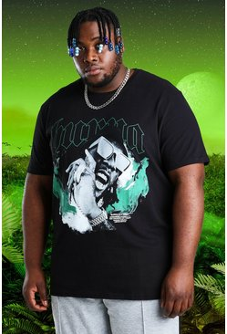 Black Plus Size Burna Boy Limited Flames T-Shirt