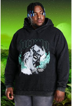 Charcoal grey Plus Size Burna Boy Acid Wash Hoodie