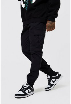 Black Regular Fit Cargo Trouser