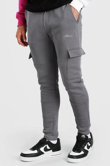 Charcoal grey MAN Signature Panelled Cargo Jogger