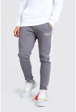 Charcoal grey MAN Embroidered Cuff Side Panel Skinny Jogger