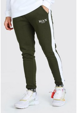 Khaki MAN Embroidered Cuff Side Panel Skinny Jogger