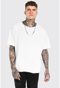 White Oversized Short Sleeve Raw Hem T-Shirt