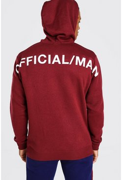 Burgundy Official MAN Back Print Hoodie