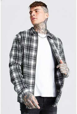 Ecru white Check Zip Through Overshirt