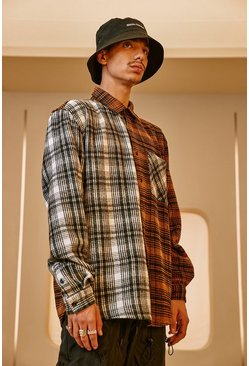 Brown Heavy Weight Contrast Check Overshirt