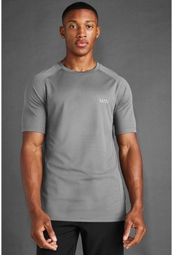 Man Active Raglan T-Shirt, Charcoal grigio