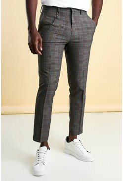 Green Skinny Check Cropped Smart Trouser With Chain