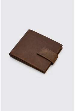 Brown Real Leather Tab Fasten Wallet