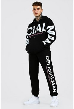 Black Loose Fit Official Man Print Hooded Tracksuit