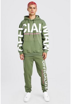 Khaki Loose Fit Official Man Print Hooded Tracksuit