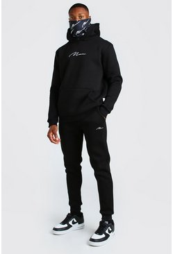 Black MAN Signature Snood Print Hooded Tracksuit
