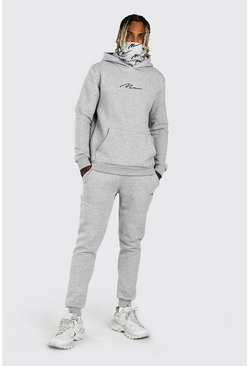Grey marl grey MAN Signature Snood Print Hooded Tracksuit