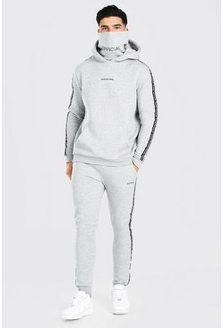 Grey marl Official Snood Hooded Tracksuit With Side Tape