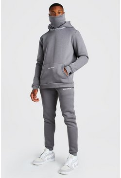 Slate Official Snood Hooded Tracksuit With MAN Rib