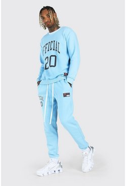 Blue Loose Fit Official Print Ribbed Sweater Tracksuit