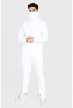 Ecru white MAN Official Embroidered Snood Hooded Tracksuit