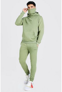 Khaki MAN Official Embroidered Snood Hooded Tracksuit