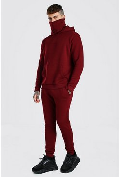 Burgundy red MAN Official Embroidered Snood Hooded Tracksuit