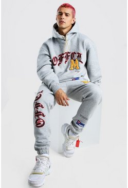 Grey marl grey Oversized Official Graphic Printed Tracksuit