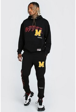 Black Oversized Official Graphic Printed Tracksuit