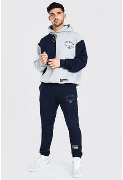 Navy Oversized Ohio Spliced Sweater Tracksuit
