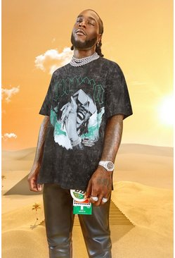 Charcoal Burna Boy OS Ltd. Ed Flames Acid Wash T-Shirt