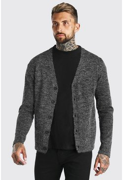 Grey marl grey Twist Knit Button Through Cardigan