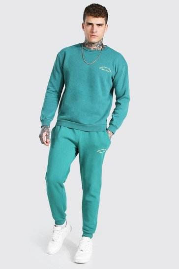 Green Overdyed Heavyweight Embroidered Sweater Tracksuit