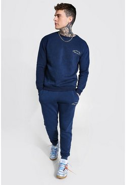Blue Overydyed Heavyweight Embroidered Sweater Tracksuit