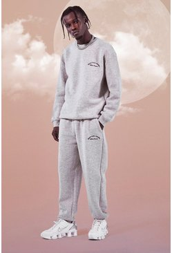Grey marl grey Heavyweight Embroidered Sweater Tracksuit