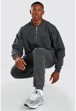 Charcoal grey Overdyed Man Half Zip Bomber Tracksuit