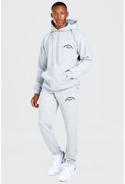 Grey marl MAN Official Rib Tracksuit With 3D Embroidery